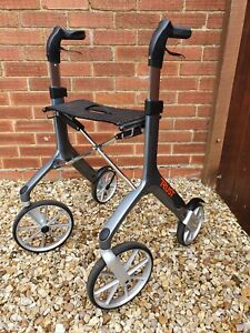 Let's Fly 4 Wheeled Folding Rollator With Seat, Hand brakes & Height Adjustable