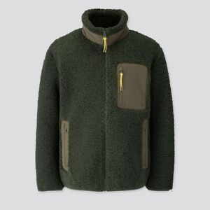 Men Uniqlo JW Anderson Windproof Pile Lined Fleece Jacket SIZE XXL Dark Green