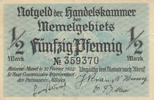 Notgeldschein der Handelskammer Memel von 1922 über 1/2 Mark in Erh. III +