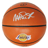Magic Johnson Signed Spalding LA Lakers Logo Game Series Rep NBA Basketball- SS