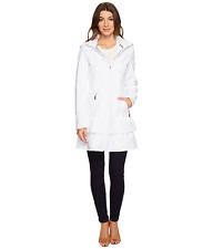 Betsey Johnson Soft Shell Hooded Coat White Water Repellant Ruffle Corset S