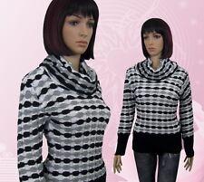 Damen Pullover Strick Kragen Langarm Schwarz Grau Weiß M L