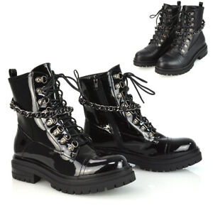 Womens Chain Lace Up Ankle Boots Ladies Casual Winter Biker Combat Booties 3-8