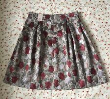 Gorgeous ~Size 16~Silver Dove Grey w/ Roses Full Skirt Jacquard 1950s by Tu BNWT