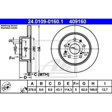 ORIGINAL ATE Bremsscheiben Satz hinten Suzuki Swift III ua. Bj.05-