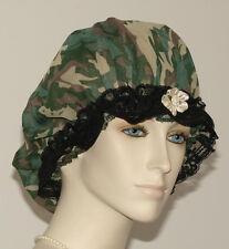 Hair Bonnet Camouflage Sheer Fabric or Night Sleep Cap - Adult Size