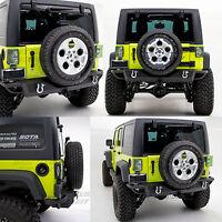Rock Crawler Rear Bumper w/Hitch Receiver- Black for 07-18 Jeep JK Wrangler