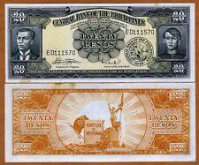 Philippines, 20 Pesos (ND) 1949, Pick 137e, aUNC   Foxing