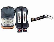 JDM Bride Racing Backpack W/Racing Harness Shoulder BLK straps + Bride Key chain