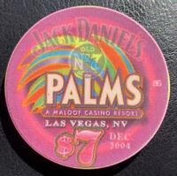 $7 LAS VEGAS PALMS CASINO CHIP DEC 2004 JACK DANIELS LIVES HERE OLD NO 7 ALCOHOL