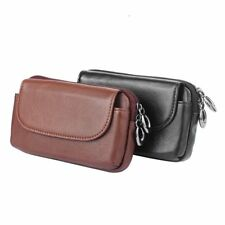 Real Cowhide Leather Horizontal Belt Clip Holster Pouch Waist Bag Pack