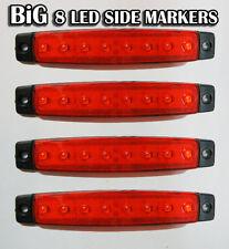 4x 24v Rojo 8 LED Lateral Marcador FARO Camión Trailer Camión caja caravana
