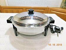 "SALADMASTER 12"" Liquid Core Electric Skillet Fry Pan T304 Stainless Steel K7256"