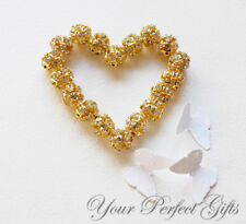 10 Rhinestone Crystal Bead Spacer Ball Gold Plated 10mm AC014