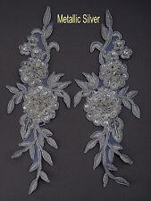 2 Pieces Embroidered Venise Lace Flowers Applique Trim Motifs Colour:M Silver #2