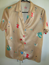 Ladies Vintage Short Sleeve Shire Button Front Size 12 Tan With Leaf Print