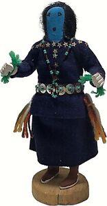 """KACHINA DOLL HAND CARVED WOOD VINTAGE 1983 8 1/2"""" SIGNED BLUE FACE FOLK ART"""