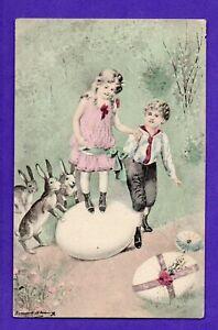 Easter CHILDREN RABBIT AND EGG VINTAGE POSTCARD 116