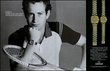 1982 John McEnroe photo Omega Watches busted tennis racquet retro print ad ads47