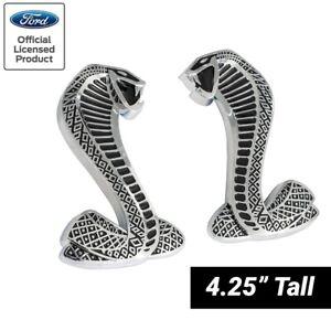 """2007-2014 Shelby GT500 4.25"""" Cobra Snake Fender Side Emblems Black & Chrome Pair"""