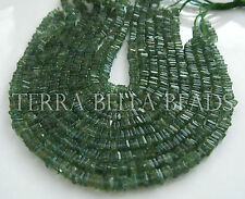 """8"""" strand green APATITE smooth gem stone square heishi cube beads 3.5mm - 4mm"""