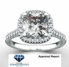 DIAMOND HALO RING 18K WHITE GOLD 1.66 CARATS SI2 D LADIES SIZE 4.5 5 6 7 8