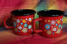 Lot 2 tasses mug émail rouge fleurs seventies 0,37l