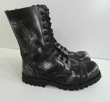MENS UK10 UNDERGROUND ENGLAND COMMANDO 10 EYE WHITE SPIDERWEB STEEL TOE BOOT