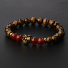 Mens Spot Natural Lava Stone Gold Silver Owl 8MM Beaded Charm Bracelet 7.5''