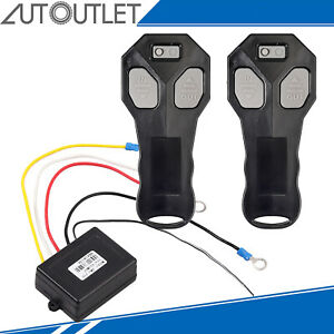 12 Wireless Winch Remote Control Recovery Kit 2Handset Switch For Truck SUV 443M