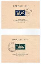lot 2 blocs allemands reich Danzig 1937 oblitérés 10