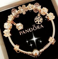 Authentic Pandora Bracelet Silver Bangle with Rose Gold Flower European Charm