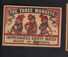 Anciennes étiquettes allumettes de paquet Suède  BN10574 Trois Singes