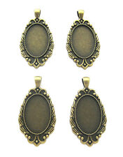 4 Antiqued Bronze SAVANNAH Style 30mm x 20mm CAMEO craft PENDANT Frames Settings