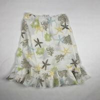 Fresh Produce Gauze Cotton Starfish Ocean Life Coral Ruffle Skirt Size L White