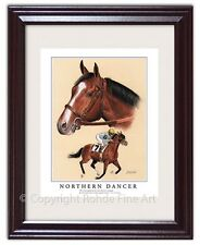 NORTHERN DANCER FRAMED HORSE RACING ART famous thoroughbred stallion painting