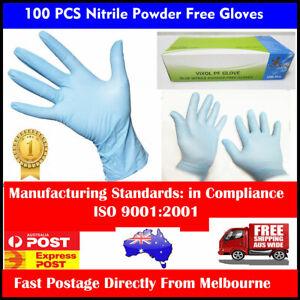 100 PCs Disposable Nitrile Medical Exam Gloves Latex-Free Powder Free-Medium AU