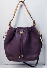 COACH Legacy Pebble Leather Eggplant Purple Drawstring Convertible Bag