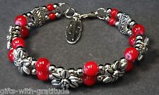 Tribal Bracelet Bangle Women's Gift Red Bead Silver Tone Flower & Feather 60mm