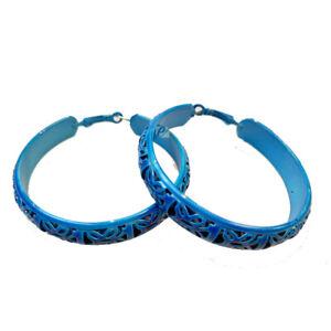 Retro 80s Hoop Earrings Bright Large Ladies  Girls Party Ear Rings Blue