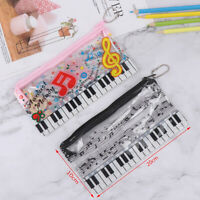 Music Pencil Case Plastic Transparent Pencil Bag Stationery Office Sup NTAT