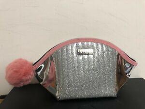 x2 Benefit 2019 Roller Lash Dome Makeup Pouch Bag Silver/Pink