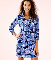 NWT $158 LILLY PULITZER Skipper Dress Bright Navy in REEL LIFE Sz XS Popover