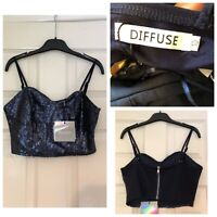 MISSGUIDED BLUE SEQUIN DISC CROP TOP MERMAID PARTY SIZE 10 NEW TAGGED Diffuse