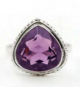 5CT Amethyst 925 Solid Sterling Silver Ring Jewelry Sz 6.5 K2-9