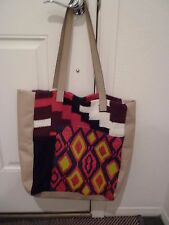 Anthropologie Jasper & Jeera leather/fabric tote purse shop embroidered beaded