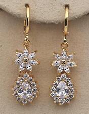 """18K Yellow Gold Filled 1.5"""" Earrings Zircon Flower Pear Cut Dangle Stud Wedding"""