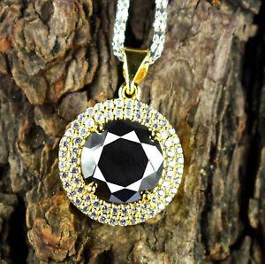 12.38 Ct   Black Diamond Certified Solitaire Halo Gold Finish Pendant