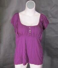 NEW One Step Up Purple Peasant Boho Babydoll Cotton Top Shirt Blouse 22/24 3x