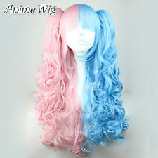 Curly Pink Mixed Blue Cosplay Lolita Style Women Girls Long Wig + Two Ponytails